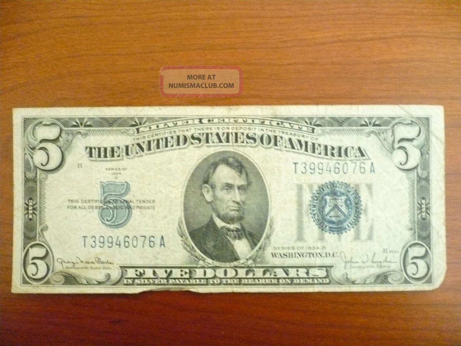 Silver Certificate Five Dollar $5 Bill Blue Seal 1934 - D Circulated