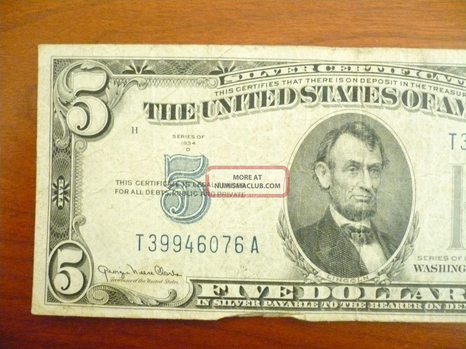 silver dollar bill certificate 1934 five seal circulated enlarge