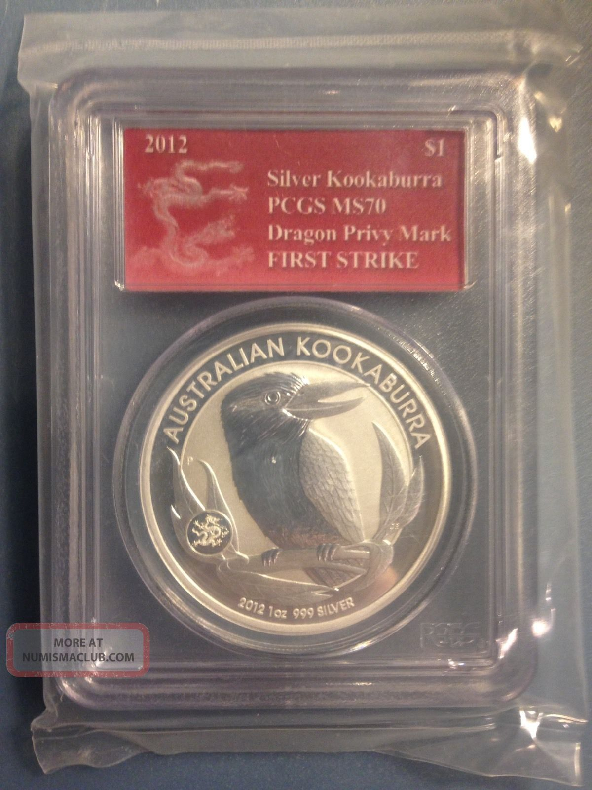 2012 1 Silver Australia Kookaburra 1 Oz Pcgs Ms 70