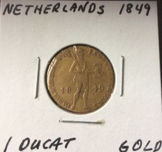 1849 Netherlands Gold Coin Ducat photo