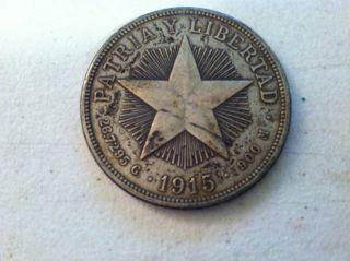 1915 Patria Y Libertad Star Un Peso Silver Coin.  900 Silver Ex Fine photo