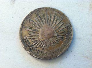 Mexico 8 Reales,  1836 Mexicana Silver Round Eagle Coin First Republic photo
