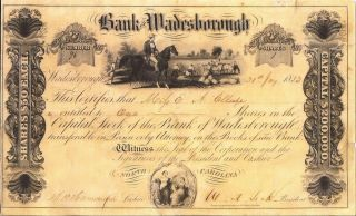 Bank Of Wadesborough,  North Carolina Capital Stock Certificate 1852 photo