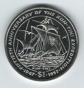 1997 Liberia 50th Anniversary Of Kon - Tiki Expedition Dollar Unc photo