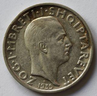 Albania 1 Frang Ar 1935.  R.  - Roma - King Zog I.  - Silver photo