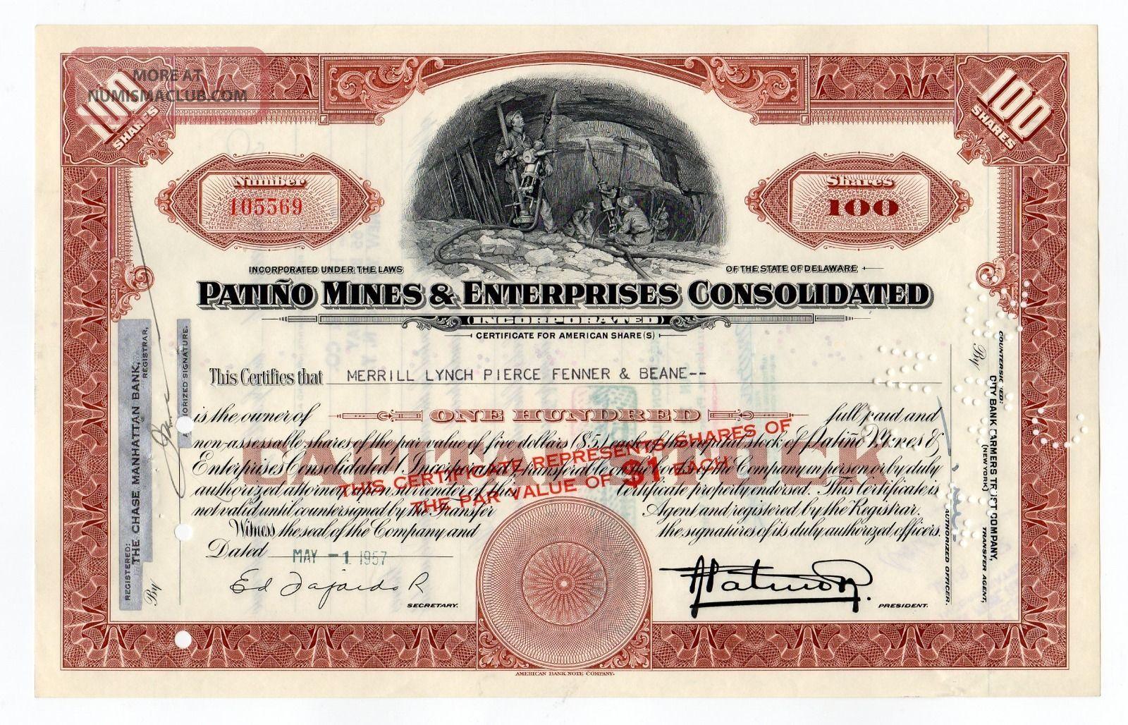 Patino Mines & Enterprises Consolidated Stock Certificate Stocks & Bonds, Scripophily photo