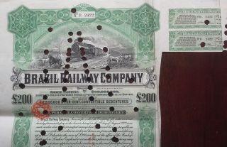 Brazil Brazilian 1912 Railway Company 200 Pounds Bond Loan photo