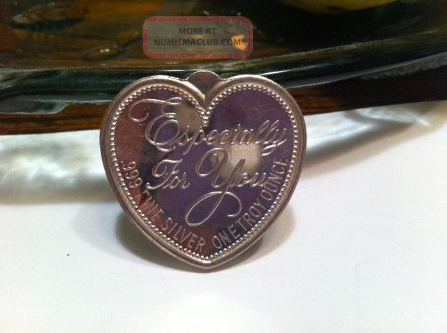 1 Oz 999 Fine Silver Heart Shaped Rose Art Round Bar 31