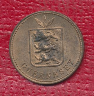1885 Guernesey 2 Doubles Interesting Circulated Foreign Coin photo