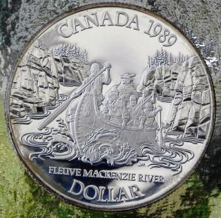 Canadian 1989 Mackenzie River Proof Silver Dollar photo