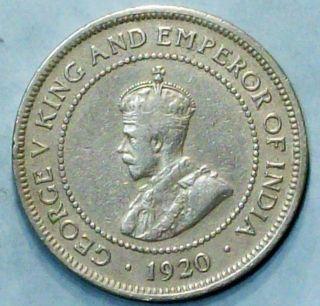 Jamaica 1/2 Penny 1920 Fine/very Fine Copper Nickel Coin photo