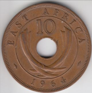 Km - 40,  1964 - H British East Africa 10 Cents,  Mid Grade photo