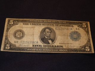 1914 Five Dollar Federal Reserve Note $5 Blue Seal Large Currency Richmond photo