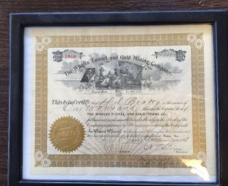 1898 Whalin Tunnel & Gold Mining Company Stock Certificate Pueblo Colorado photo