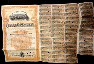 1896 Massachusetts 1,  000.  00 Gold Bond For Abolition Of Rr Grade Crossings photo