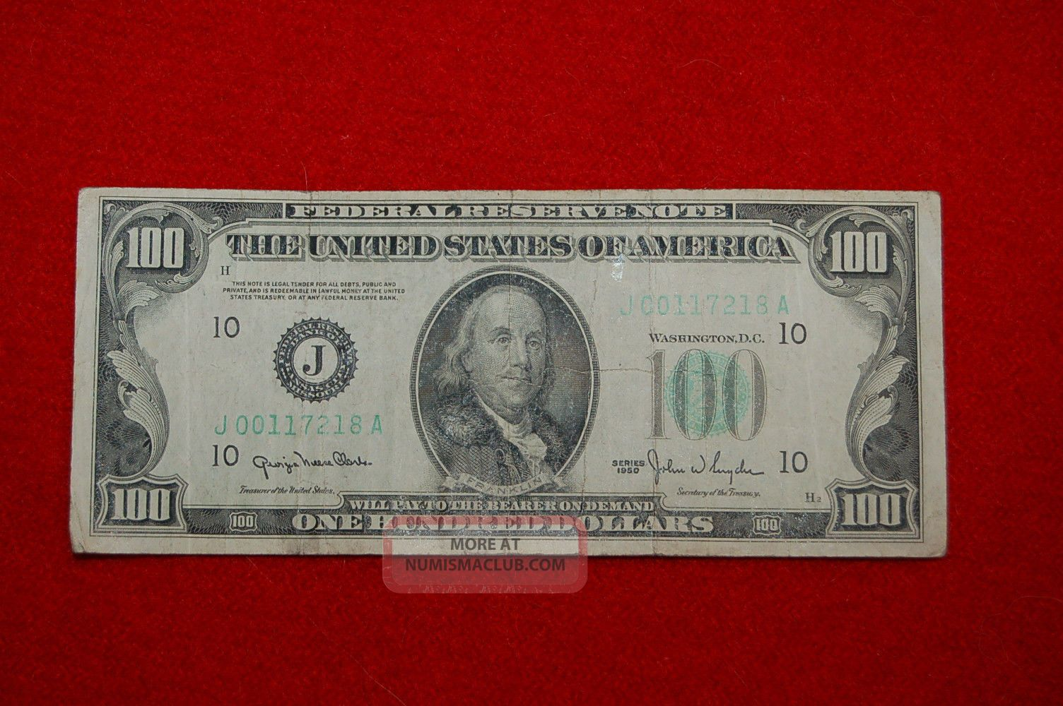 100 1950 Series Federal Reserve Note Green Seal 100 Dollar Bill