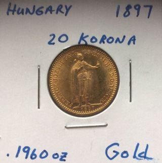 1897 Hungary Gold Coin 20 Korona Brilliant Uncirculated photo