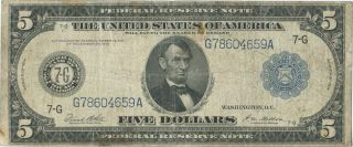 1914 $5 Dollar Bill Federal Reserve Note photo