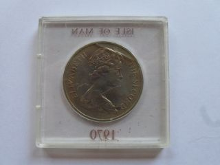 1970 Isle Of Man One Crown Manx Cat Coin photo
