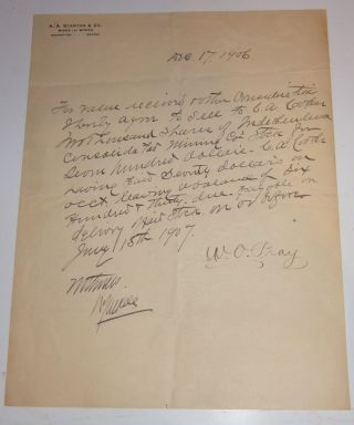 1906 Manhattan Nevada Mining Stockbroker Letter Independence Cons Mines Document photo