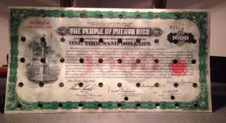 Territory Of Puerto Rico $1000 Series A 1935 Irrigation Extension Loan Cancelled photo