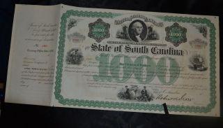South Carolina $1000 Stock Certificate 1869.  Reconstruction Era Bond. photo