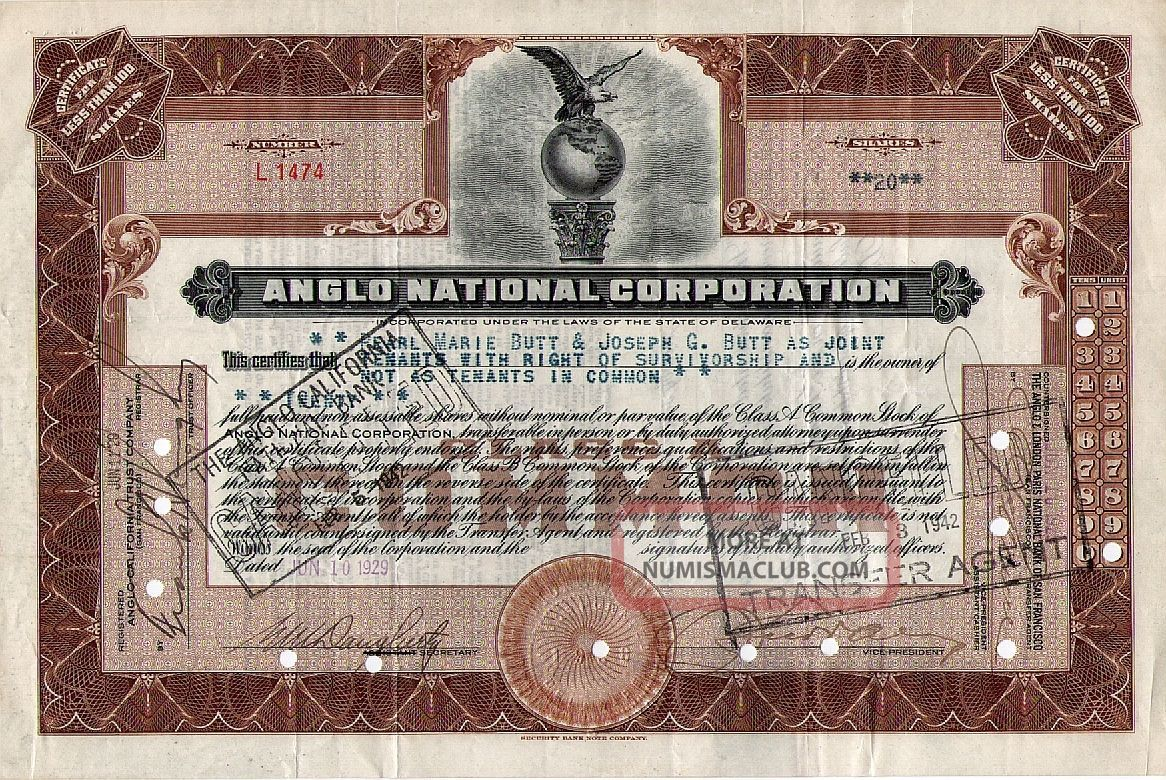 Anglo National Corporation San Francisco Ca (anglo National Bank) Stock 1929 Stocks & Bonds, Scripophily photo