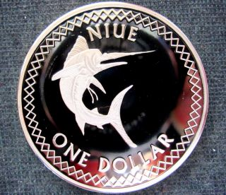 Niue Island Elizabeth Ii 2010 Dollar,  Swordfish,  Cu - Ni,  Bu photo