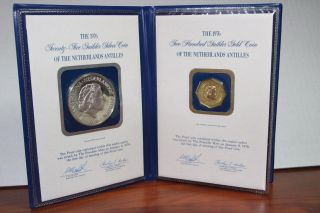 1976 Netherlands Antilles 200 Guilder Gold.  900pure.  2300 Troy Oz Plus Silver Ac photo
