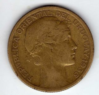 Uruguay 10 Centesimos 1936,  Alum - Bronze photo