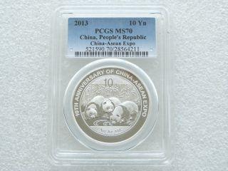 2013 China Asean Expo 10th Anniversary Panda 10 Yuan Silver 1oz Coin Pcgs Ms70 photo