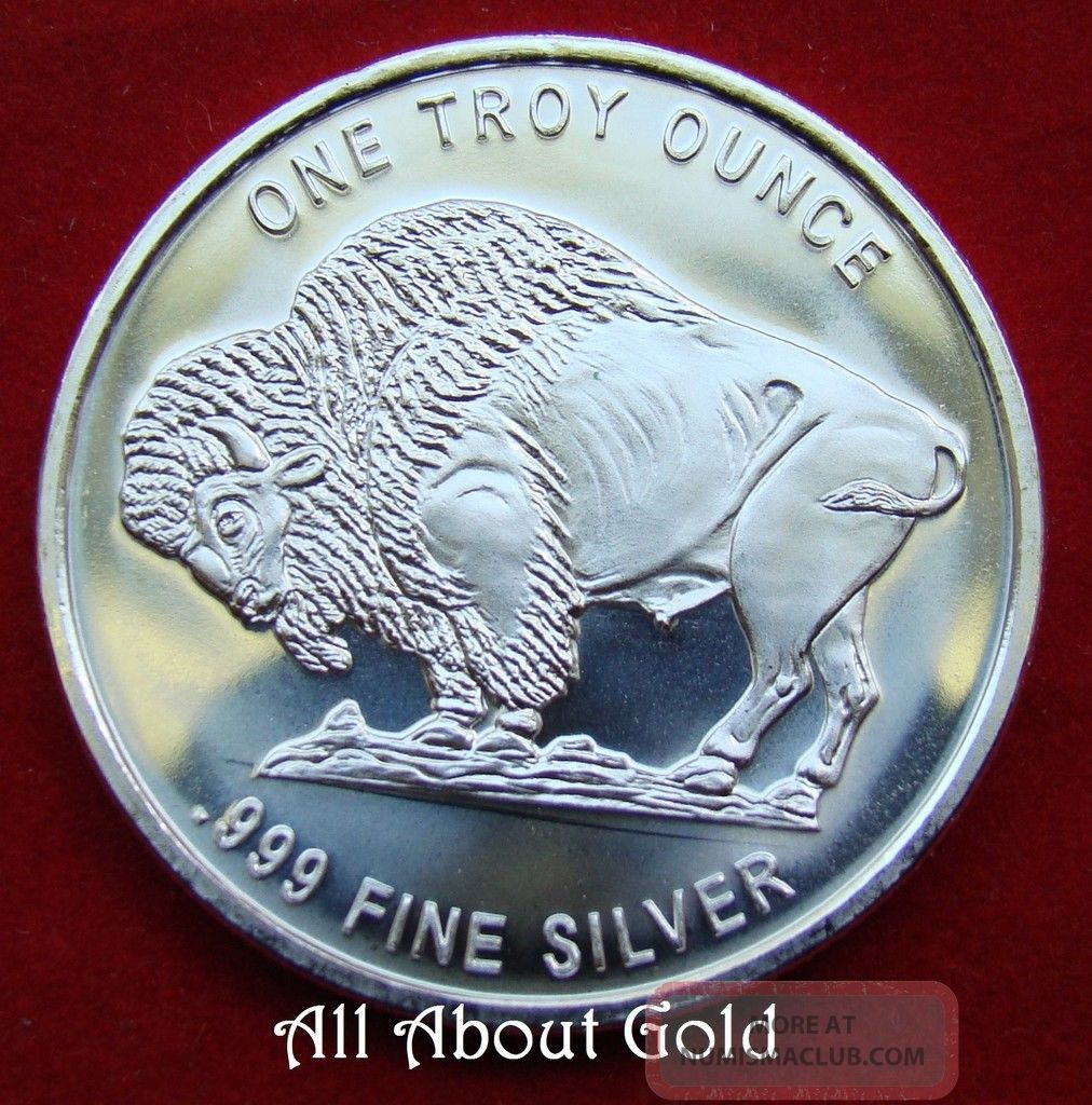 Solid Silver Round 1 Troy Oz Liberty Buffalo Indian Head