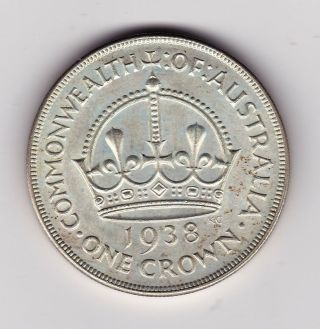 1938 Australia,  Crown Coin - 28.  3g,  38.  6mm - 0.  925 Silver - Near Unc (a2) photo