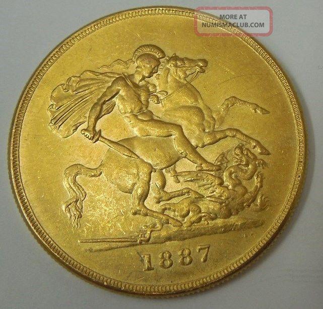 1887 Five Pound 22 Carat Gold Sovereign Coin 163 5 Queen