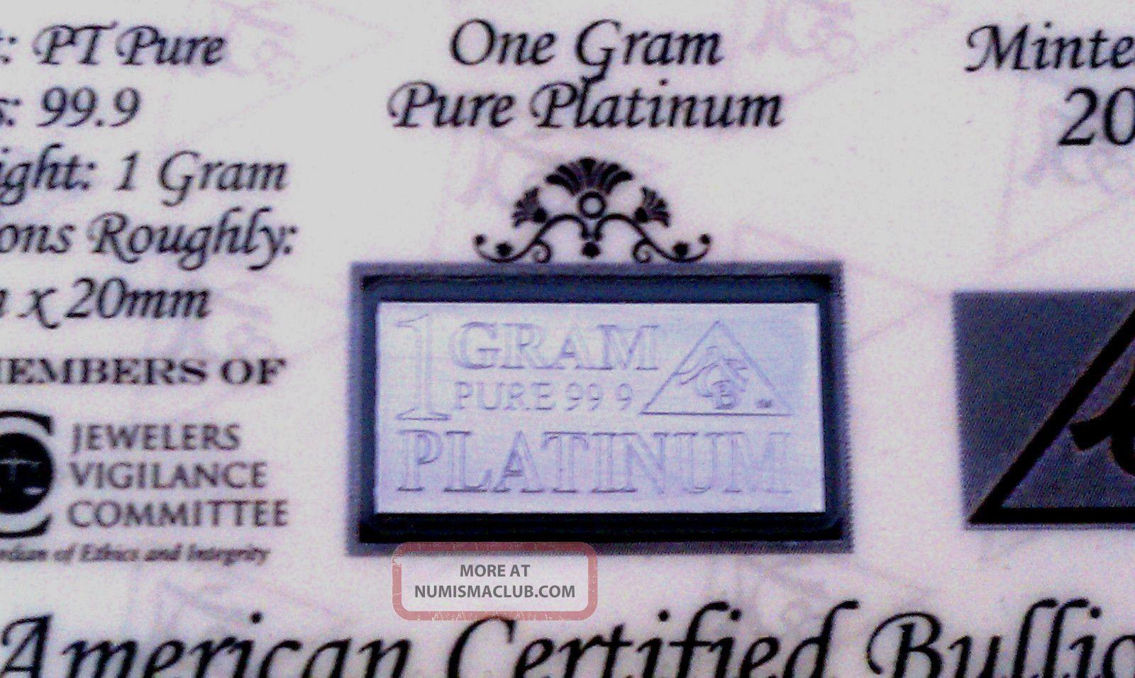 ACB PLATINUM 1 GRAM PURE PT BULLION MINTED BAR 99.9 FINE with CERTIFICATE