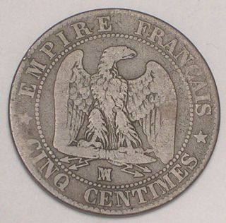 1857 France French 5 Centimes Napolean Eagle Coin F photo