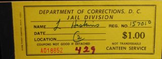 Department Of Corrections Washington D.  C.  Jail Division Canteen Services Coupons photo