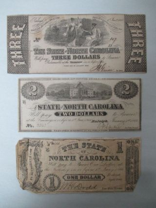 3 - 100 Authentic 1866 North Carolina Confederate Bills 1866 - $1 $2 & $3 Bills photo