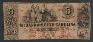 $5 Bank Of South Carolina Charleston Old Paper Money Obsolete Sc Calhoun Note photo