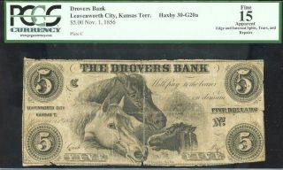 $5 1856 Drovers Bank Leavenworth Kansas Territory Ormsby Pcgs Fine 15 photo