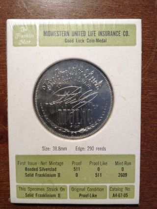 Midwestern United Life Insurance Co.  - Good Luck Coin Token Medal photo