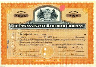 1929 Pennsylvania Railroad Company (10 Shares) Stock Certificate photo