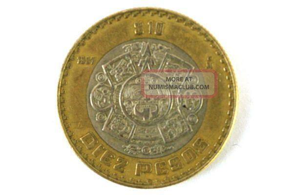 1997 Estados Unidos Mexicanos Diez Pesos 10 Snake Coin