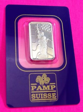 Pamp Suisse Statue Of Liberty 5 Gram 999.  5 Palladium Bar In Assay Card photo