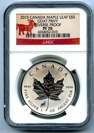 2015 $5 Canada 1 Oz Silver Maple Leaf Goat Sheep Privy Ngc Pf70 Reverse Proof photo