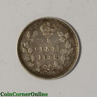 1892 Canadian Silver 5 Cent Obv2 (ccx6646) photo