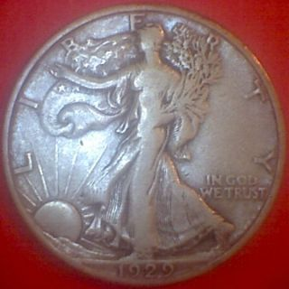 1929 - D (vf) 50c Silver Walking Liberty Half Dollar photo