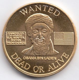 Saudi Arabia,  Token Issue,  Gilt,  Osama Bin Laden Wanted,  Uncirculated,  27 Mm photo
