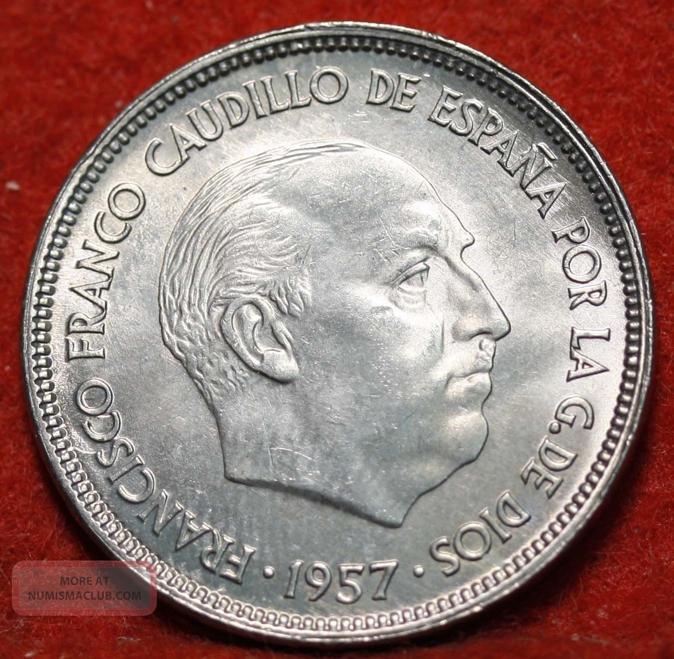 Circulated 1957 Spain 25 Pesetas Y119 Foreign Coin S H