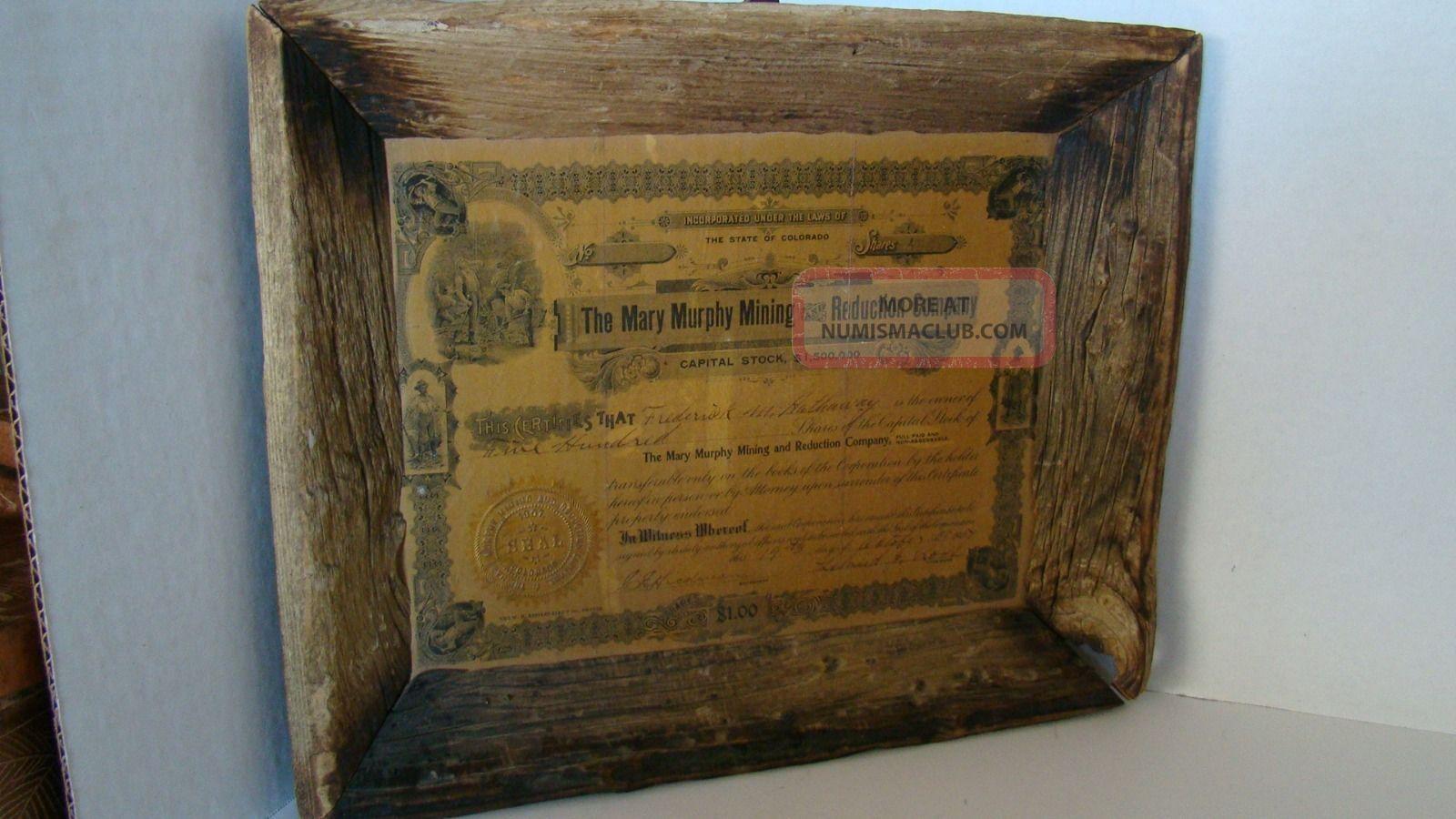 Antique 1907 Colorado Mary Murphy Mining Certificate In Barnwood Frame Stocks & Bonds, Scripophily photo